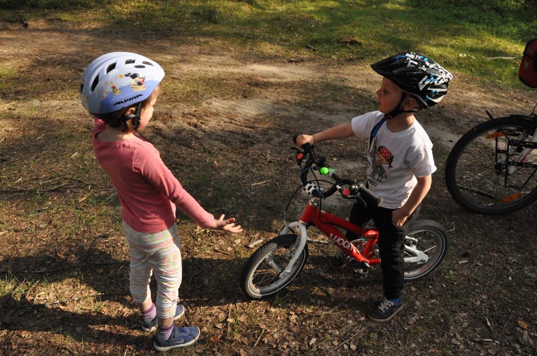 Prawie 4 latek i jego lekki rower WOOM 2 podczas wycieczki rowerowej w Borach Tucholskich.