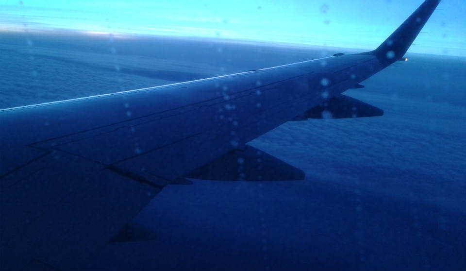 Widok z samolotu na trasie Ryga-Radom
